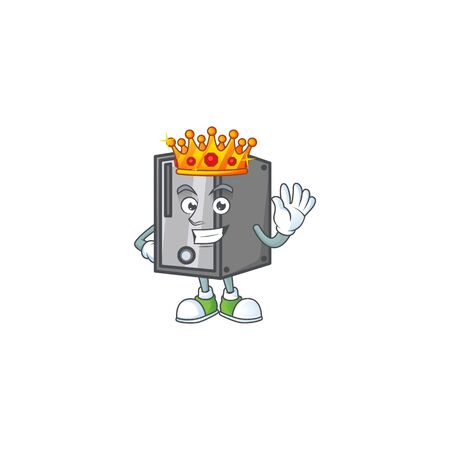 A dazzling of CPU stylized of King on cartoon mascot design. Vector illustration