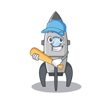 Smiley Funny rocket a mascot design with baseball. Vector illustration Illustration