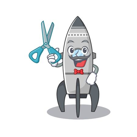 Cartoon character of Sporty Barber rocket design style