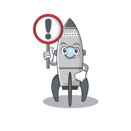 cute mascot character style of rocket raised up a sign Standard-Bild - 139494057