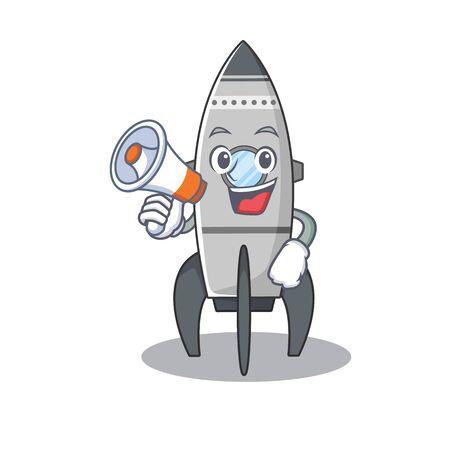 A mascot of rocket speaking on a megaphone Standard-Bild - 139494067