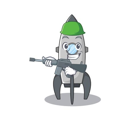 A cute picture of rocket Army with machine gun Standard-Bild - 139494074