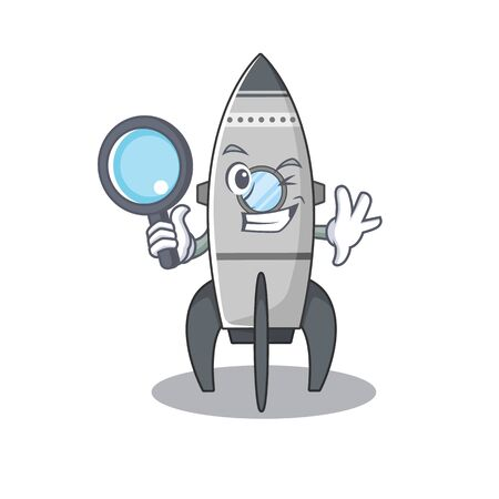 Elegant and Smart rocket Detective cartoon design concept
