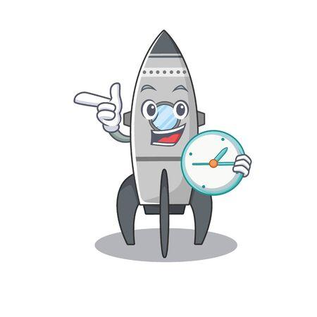 cartoon character in concept rocket having clock Standard-Bild - 139494096