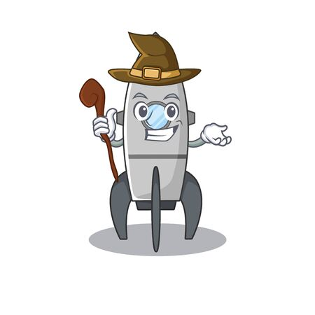 a mascot concept of rocket performed as a witch Standard-Bild - 139494098