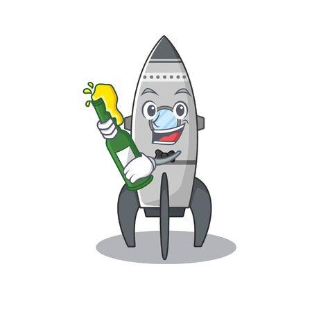 mascot cartoon design of rocket with bottle of beer Standard-Bild - 139467610