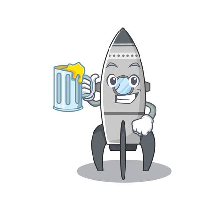 Smiley rocket mascot design with a big glass Standard-Bild - 139494112