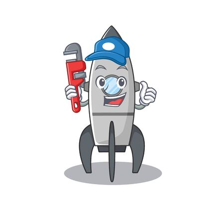 A cute picture of rocket working as a Plumber Standard-Bild - 139467563