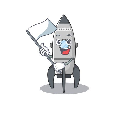 Funny rocket cartoon character style holding a standing flag Standard-Bild - 139494118