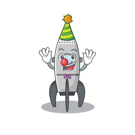 Funny Clown rocket cartoon character mascot design Ilustração
