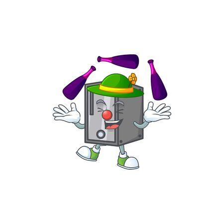 Smart CPU cartoon character style playing Juggling