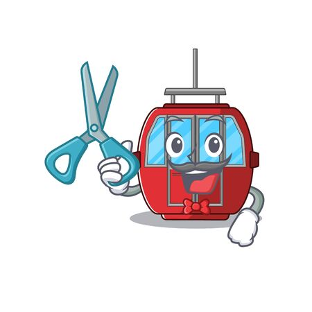 Cartoon character of Sporty Barber ropeway design style. Vector illustration 向量圖像