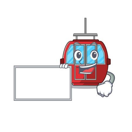 cartoon character of ropeway design concept bring a board. Vector illustration
