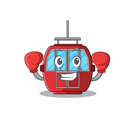 mascot character style of Sporty Boxing Ropeway. Vector illustration