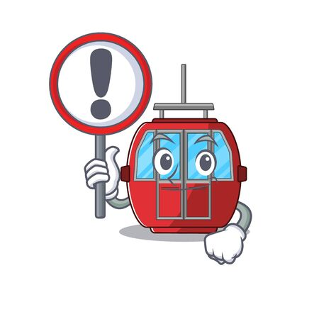 cute mascot character style of ropeway raised up a sign. Vector illustration