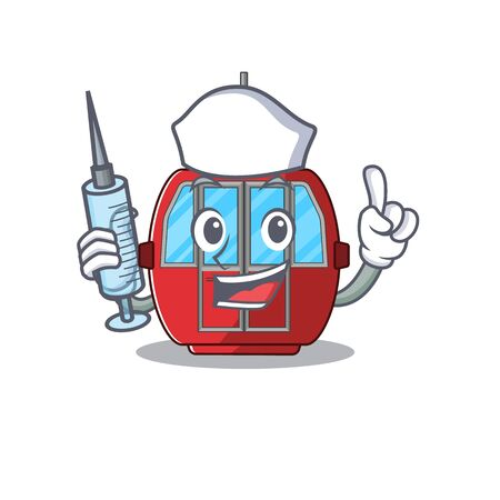 A ropeway hospitable Nurse character with a syringe. Vector illustration