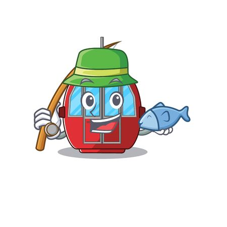 A Picture of happy Fishing ropeway design. Vector illustration Illustration