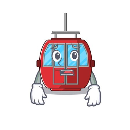 A picture of ropeway having an afraid face. Vector illustration