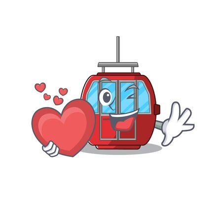 Romantic ropeway cartoon picture holding a heart. Vector illustration