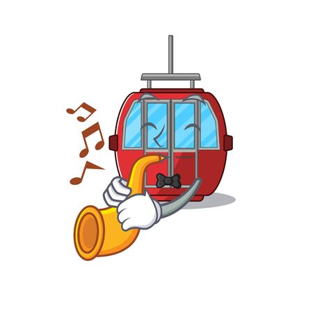mascot design concept of ropeway playing a trumpet. Vector illustration