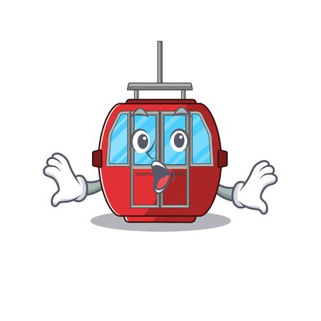 Ropeway mascot design concept with a surprised gesture. Vector illustration