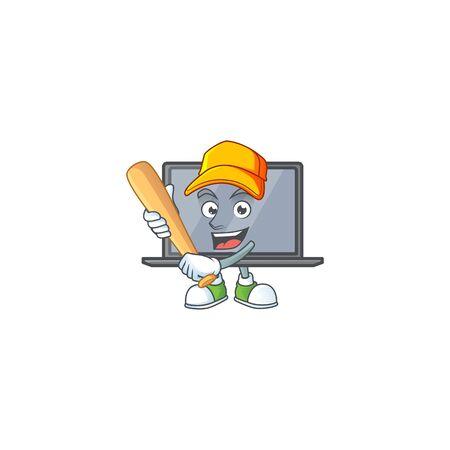 An active healthy monitor mascot design style playing baseball