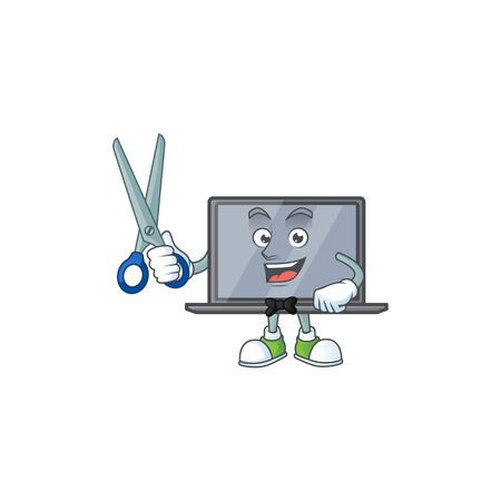 Happy smiling barber monitor mascot design style 向量圖像