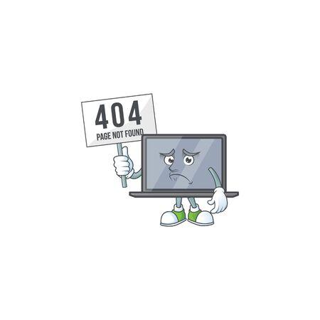 cheerless face monitor mascot style design raised up a board Çizim
