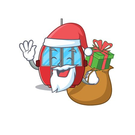 Santa ropeway Cartoon character design having box of gifts. Vector illustration