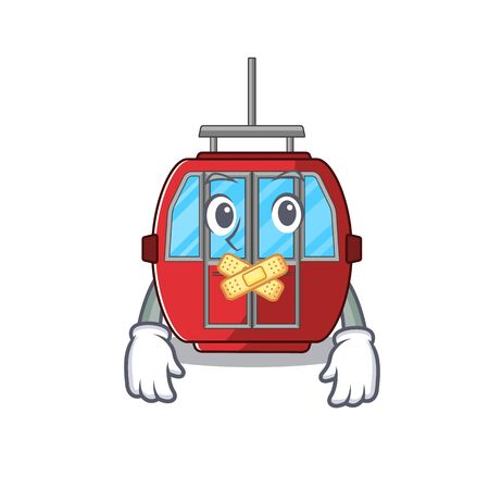 cartoon character design ropeway making a silent gesture Stock Illustratie