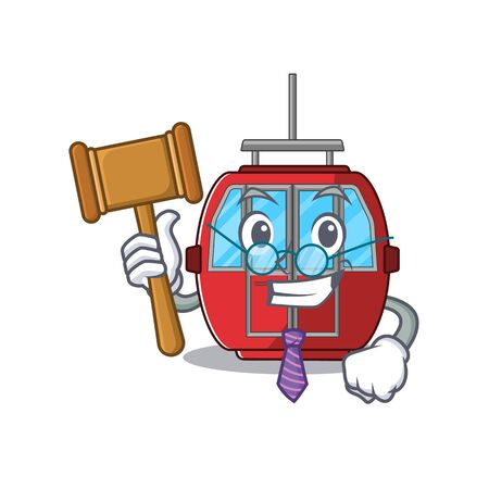 Smart Judge ropeway in mascot cartoon character style