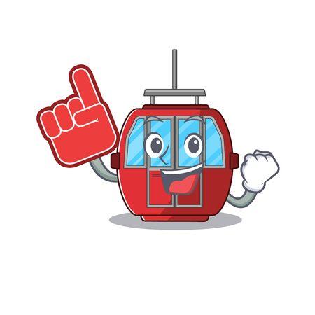 A picture of ropeway mascot cartoon design holding a Foam finger 矢量图像