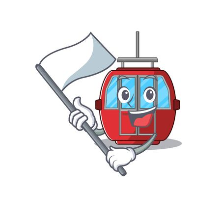 Funny ropeway cartoon character style holding a standing flag. Vector illustration
