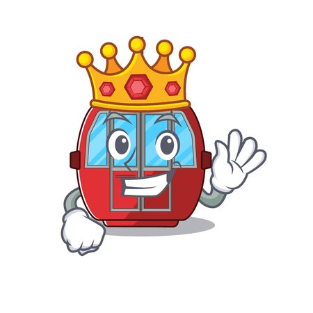 A cartoon mascot design of ropeway performed as a King on the stage. Vector illustration