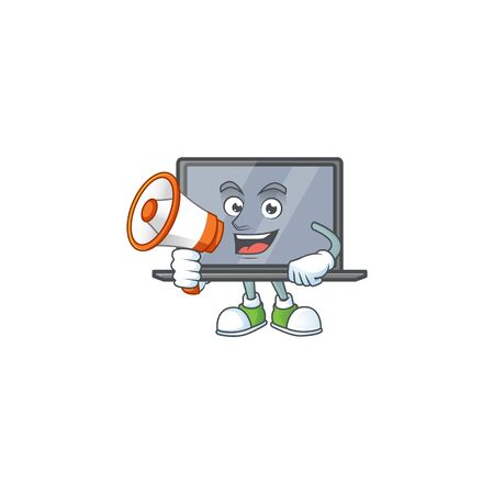 A chilly cartoon character of monitor with a megaphone