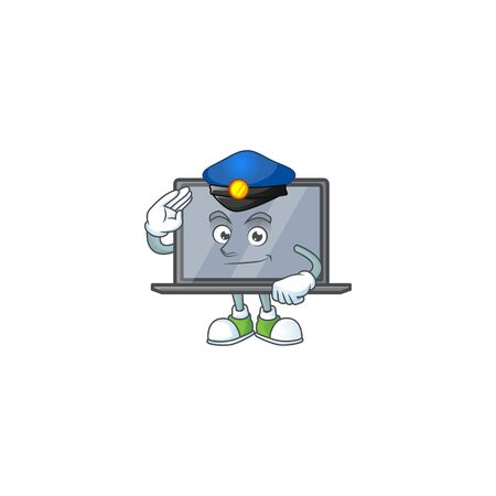 A character design of monitor working as a Police officer
