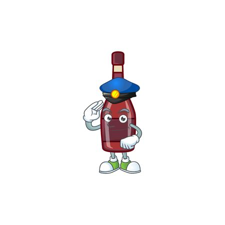 A character design of red bottle wine in a Police officer costume. Vector illustration