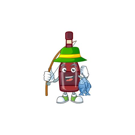 A Picture of happy Fishing red bottle wine design