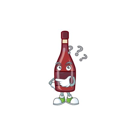 Red bottle wine cartoon mascot style with confuse gesture Иллюстрация