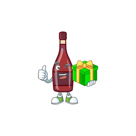Smiley red bottle wine character with gift box Иллюстрация