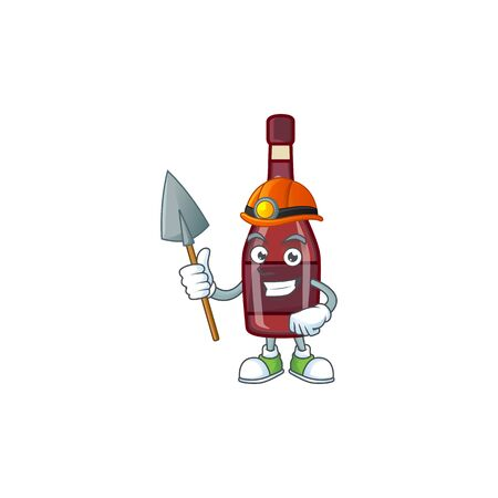 Cool clever Miner red bottle wine cartoon character design