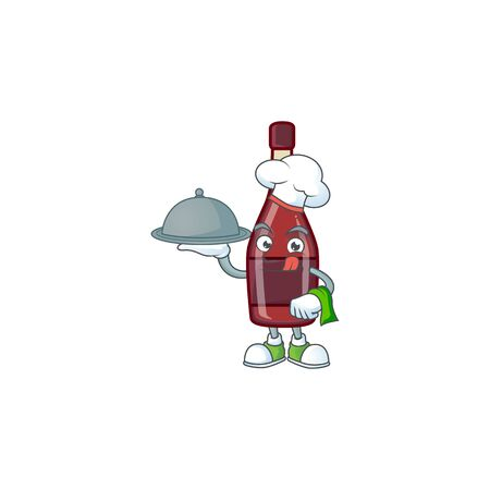 cartoon design of red bottle wine as a Chef having food on tray