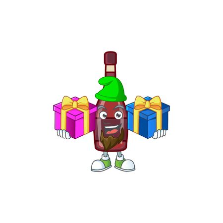 Cute red bottle wine cartoon mascot style with two boxes of gifts