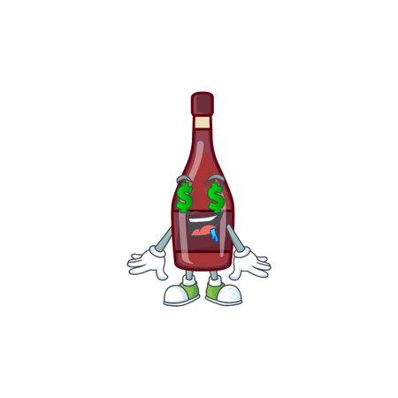 Happy rich red bottle wine with Money eye cartoon character style. Vector illustration Иллюстрация