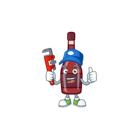 Cool Plumber red bottle wine on mascot picture style Иллюстрация