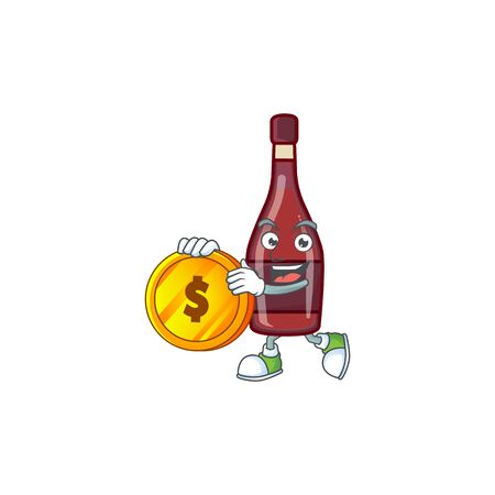 Rich red bottle wine mascot cartoon design style with gold coin
