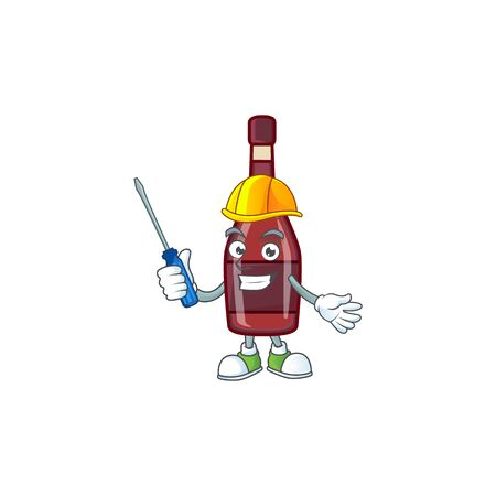 Cool automotive red bottle wine in cartoon character style