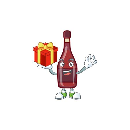 Happy face red bottle wine cartoon character having a box of gift Иллюстрация
