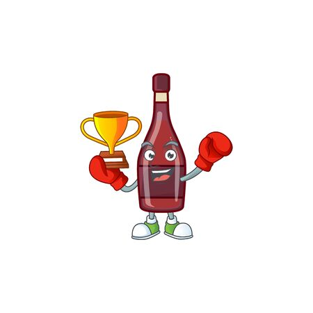 fantastic Boxing winner of red bottle wine in mascot cartoon style