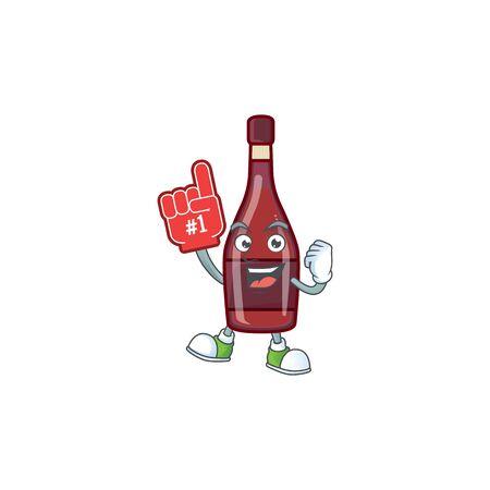 Red bottle wine mascot cartoon style holding a Foam finger. Vector illustration
